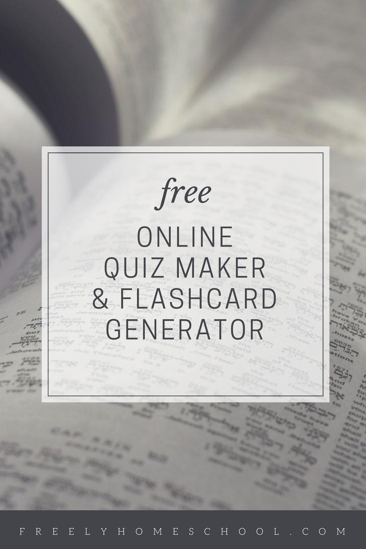 Quiz maker flashcard generator freely homeschool for Online home maker